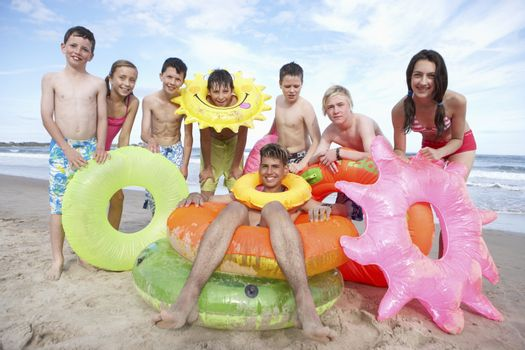 Teenagers on beach
