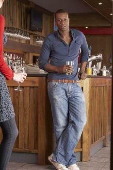 Handsome man in bar