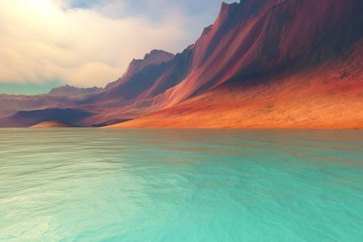 Beautiful mountains rise gently toward the sky with amazing deep brown colors.