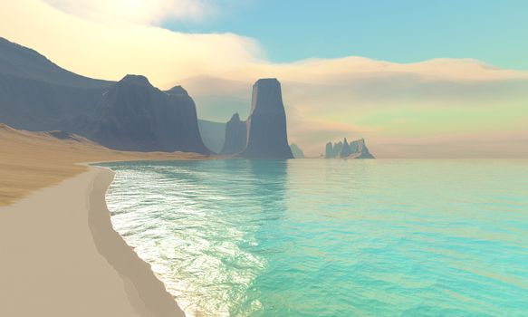 This ocean beach is colored in beautiful pastel colors on a hazy summer afternoon.