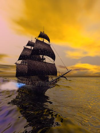 The Flying Dutchman, according to folklore, is a ghost ship that can never go home, doomed to sail the oceans forever. The Flying Dutchman is usually spotted from far away, sometimes glowing with ghostly light. It is said that if hailed by another ship, its crew will try to send messages to land or to people long dead. In ocean lore, the sight of this phantom ship is a portent of doom.