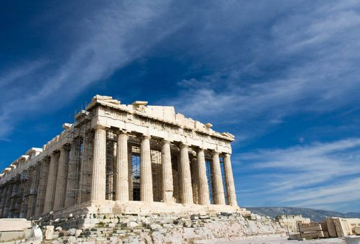 Facade of ancient temple Parthenon in Acropolis Athens Greece on the blue sky background