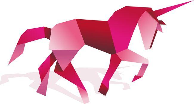 Vibrant colors Origami unicorn