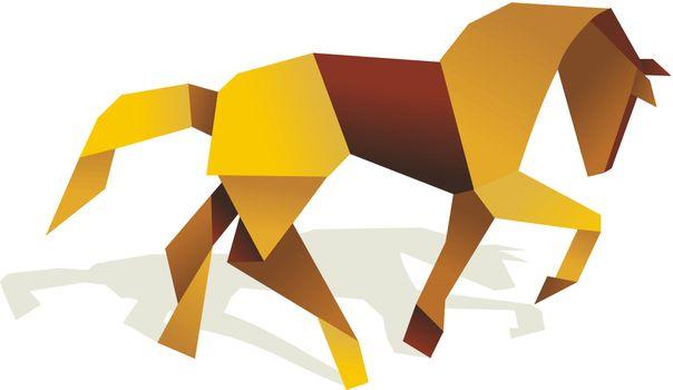 Vibrant colors Origami horse