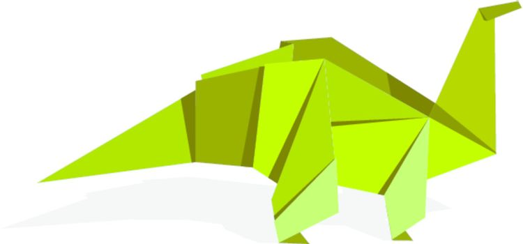 Vibrant colors origami dinosaur