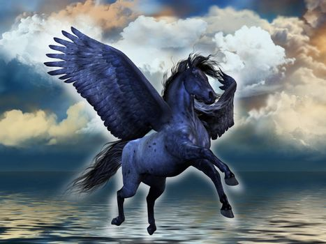 A black roan Pegasus stallion glows with magical powers.