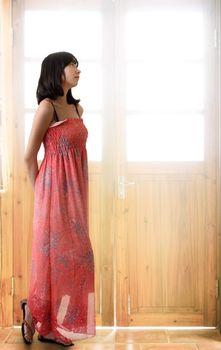 Oriental girl thinking