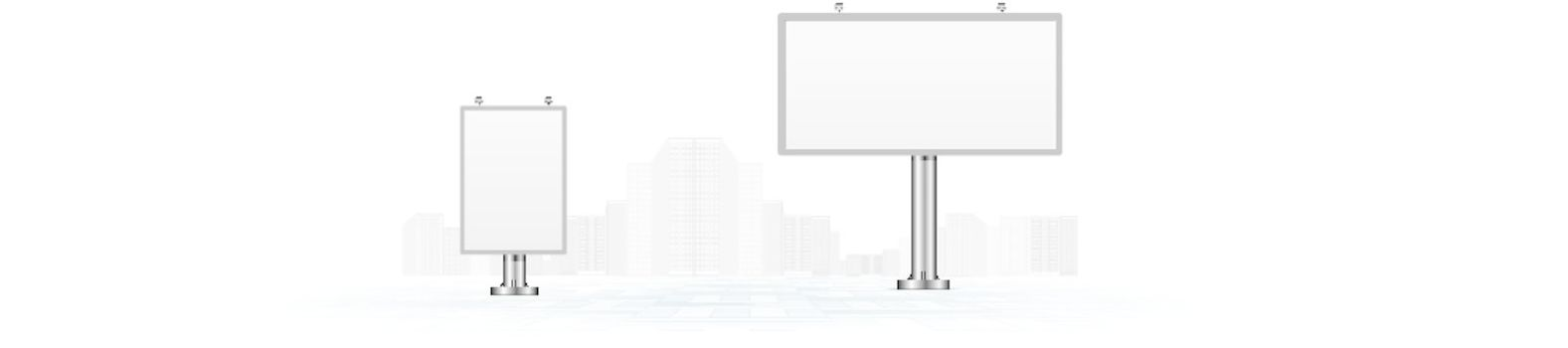Billboards with gray urban horizon vector background