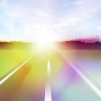 Colorful abstract illustration of a highway at high speeds traveling towards a city horizon around sunset.