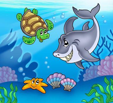 Cartoon animals underwater - color illustration.