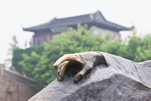 the lucky finger of famous poet  in feng-qiao scenery area in water town Suzhou China