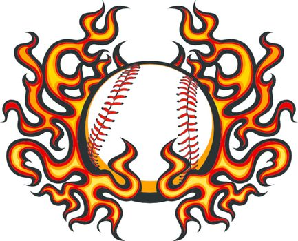 Baseball Template with Flames Vector Image