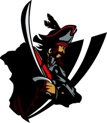 Pirate Mascot with Sword and Hat Graphic Vector Illustration