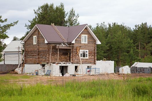 Building of wooden rural house