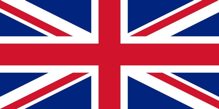 Sovereign state flag of country of United Kingdom in official colors.