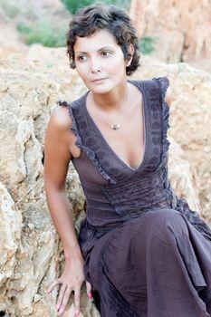 woman in brow dress