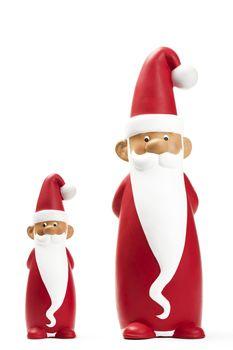 two slender santa figurines