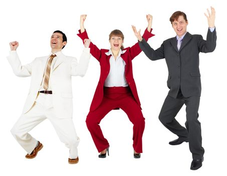 Triumph of happy command of businessmen