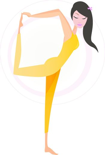 Woman practicing Yoga excercise. Vector Illustration of girl in Dancer's Pose isolated on white background.
