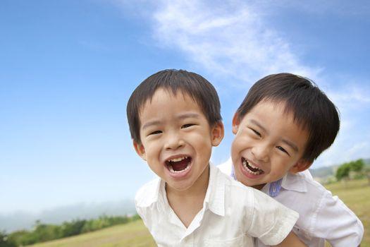 Portrait of happy  little boys