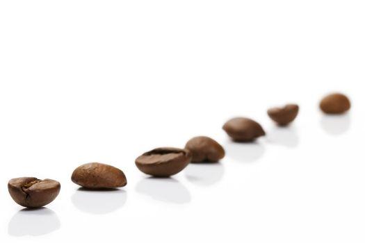 diagonal row of coffee beans