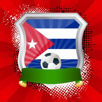EPS 10. Shiny metal shield on bright background with flag of Cuba