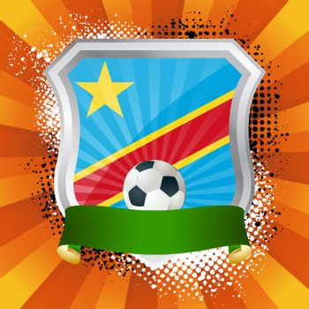 EPS 10. Shiny metal shield on bright background with flag of Democratic Republic of the Congo