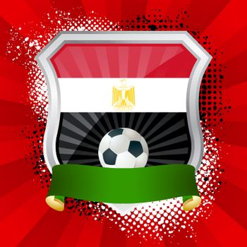 EPS 10. Shiny metal shield on bright background with flag of Egypt