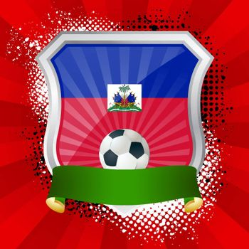 EPS 10. Shiny metal shield on bright background with flag of Haiti