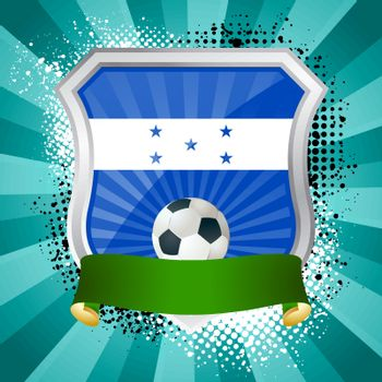 EPS 10. Shiny metal shield on bright background with flag of Honduras
