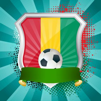 EPS 10. Shiny metal shield on bright background with flag of Guinea