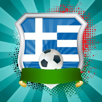 EPS 10. Shiny metal shield on bright background with flag of Greece