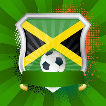 EPS 10. Shiny metal shield on bright background with flag of Jamaica