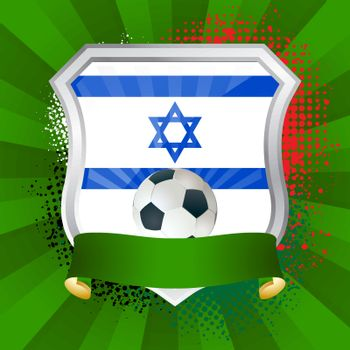 EPS 10. Shiny metal shield on bright background with flag of Israel