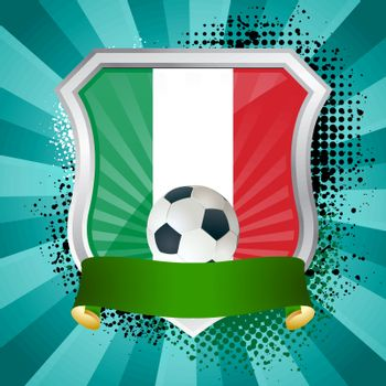 EPS 10. Shiny metal shield on bright background with flag of Italy