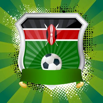 EPS 10. Shiny metal shield on bright background with flag of Kenya