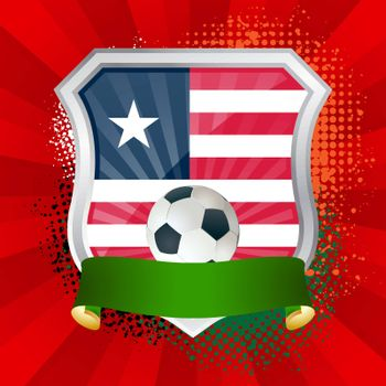 EPS 10. Shiny metal shield on bright background with flag of Liberia