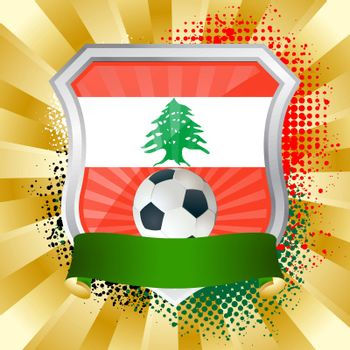 EPS 10. Shiny metal shield on bright background with flag of Lebanon