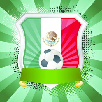 EPS 10. Shiny metal shield on bright background with flag of Mexico