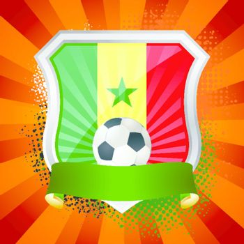EPS 10. Shiny metal shield on bright background with flag of Senegal
