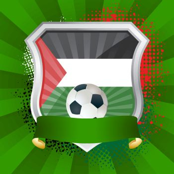 EPS 10. Shiny metal shield on bright background with flag of Palestine