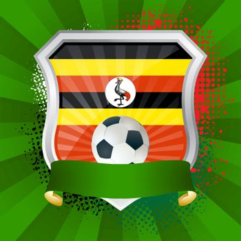 EPS 10. Shiny metal shield on bright background with flag of Uganda