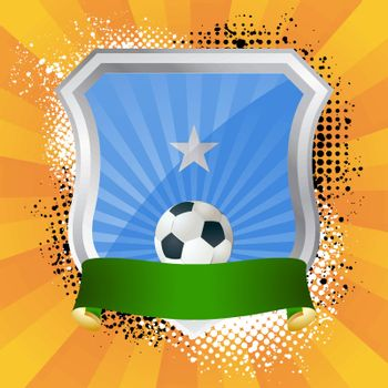 EPS 10. Shiny metal shield on bright background with flag of Somalia