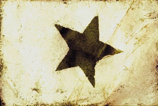 Grunge star texture scanned from a vintage homemade Christmas card