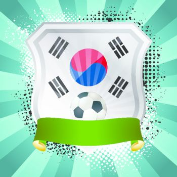 EPS 10. Shiny metal shield on bright background with flag of South Korea