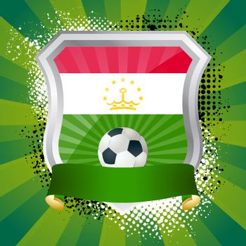 EPS 10. Shiny metal shield on bright background with flag of Tajikistan
