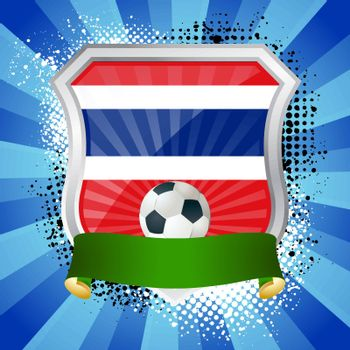 EPS 10. Shiny metal shield on bright background with flag of Thailand