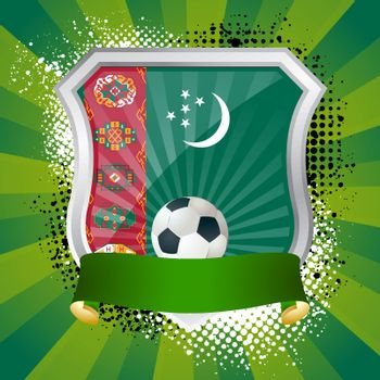 EPS 10. Shiny metal shield on bright background with flag of Turkmenistan