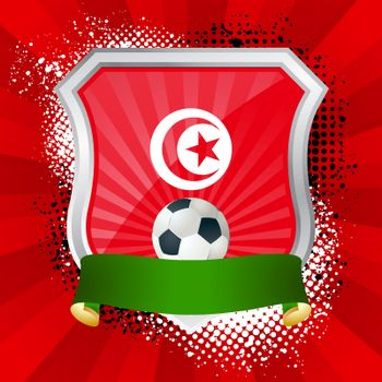 EPS 10. Shiny metal shield on bright background with flag of Tunisia