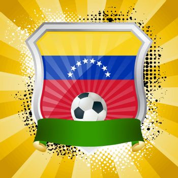 EPS 10. Shiny metal shield on bright background with flag of Venezuela
